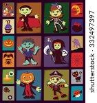 vintage halloween poster design ... | Shutterstock .eps vector #332497397