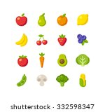 set of healthy fruit and... | Shutterstock . vector #332598347