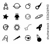 vector space icon set on white