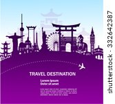 world travel vector purple... | Shutterstock .eps vector #332642387