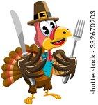 thanksgiving cartoon turkey... | Shutterstock .eps vector #332670203