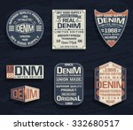 set of emblem  labels denim...