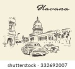 streets of havana with old cars ... | Shutterstock .eps vector #332692007