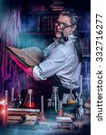 Small photo of The old man medieval scientist working in his laboratory. Alchemist. Halloween.
