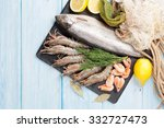 Fresh raw sea food with spices...