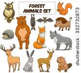 cartoon funny forest animals... | Shutterstock . vector #332732873