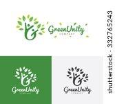 green unity logo eco green... | Shutterstock .eps vector #332765243