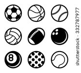Sports Balls Icons Set On Whit...