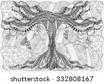 artistically tree and feathers. ... | Shutterstock .eps vector #332808167