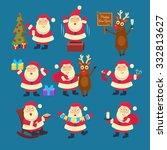 santa and deer collection... | Shutterstock .eps vector #332813627