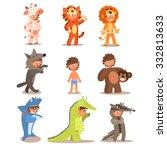 little boys wearing animal...   Shutterstock .eps vector #332813633