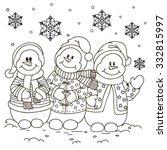 coloring. three snowmen. | Shutterstock .eps vector #332815997