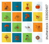 set of flat autumn icons.... | Shutterstock . vector #332820407