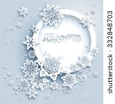 winter holiday round frame.... | Shutterstock .eps vector #332848703