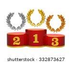 gold  silver and bronze wreath...   Shutterstock . vector #332873627