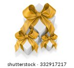 white gifts  with gold ribbon... | Shutterstock . vector #332917217