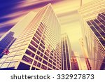 vintage toned skyscrapers with... | Shutterstock . vector #332927873