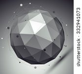 abstract grayscale 3d sphere... | Shutterstock .eps vector #332941073