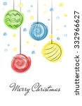 christmas balls draw with... | Shutterstock .eps vector #332966627