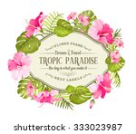 beautiful card with a wreath of ... | Shutterstock .eps vector #333023987