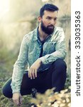 young fashion bearded model man ... | Shutterstock . vector #333035363