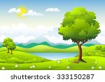 summer landscape with flowers... | Shutterstock .eps vector #333150287