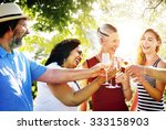 diverse neighbors drinking... | Shutterstock . vector #333158903