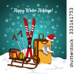 winter greeting card with sport ... | Shutterstock .eps vector #333161753