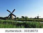 beautiful windmill landscape at