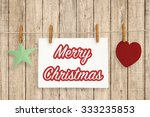 clothespin hanging with merry... | Shutterstock . vector #333235853