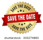 save the date 3d gold badge... | Shutterstock .eps vector #333274883