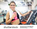 smiling woman drinking on the... | Shutterstock . vector #333327797