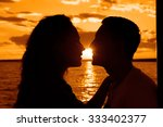silhouette of kissing couple... | Shutterstock . vector #333402377