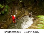 well equipped man jumping into... | Shutterstock . vector #333445307