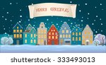 panoramic view of old houses in ... | Shutterstock .eps vector #333493013