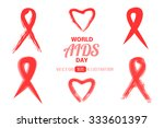 world aids day. red ribbon.... | Shutterstock .eps vector #333601397