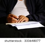 man write pen on document... | Shutterstock . vector #333648077