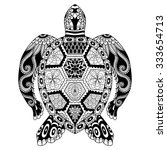 drawing zentangle turtle for