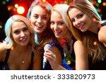 happy girls having fun singing... | Shutterstock . vector #333820973