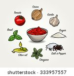 tomato sauce ingredients | Shutterstock .eps vector #333957557