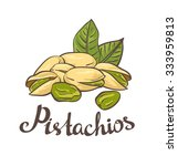 pistachio nuts with leaves.... | Shutterstock .eps vector #333959813