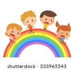 kids. walking on the rainbow. | Shutterstock .eps vector #333965543