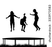 children silhouettes jumping on ... | Shutterstock .eps vector #333973583