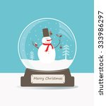 merry christmas glass ball with ... | Shutterstock .eps vector #333986297