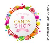 candy poster with gradient mesh ... | Shutterstock .eps vector #334024547