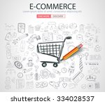 e commerce concept with doodle... | Shutterstock .eps vector #334028537