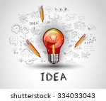 idea concept with light bulb... | Shutterstock .eps vector #334033043