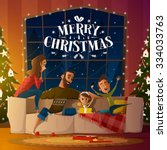 merry christmas card with family | Shutterstock .eps vector #334033763