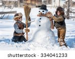 two little boys sculpt a... | Shutterstock . vector #334041233