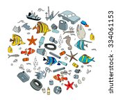 water pollution in the ocean.... | Shutterstock .eps vector #334061153